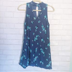 Altar'd State Blue Floral High Neck Dress S
